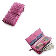 Lady Women Real Leather Weave Clutch Multiple Wallet Long Card Holder Handbag  #teemzone #zipphonewallet
