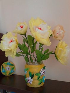 yellow flowers from crepe paper