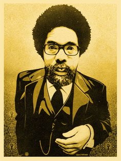 "Obey Giant Cornel West  18 x 24"" Screen Print  Shepard Fairey and Glen E. Friedman"
