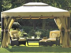 Outdoor Gazebo Dining Rooms | Just take your cues from your indoor dining room, or bedroom.