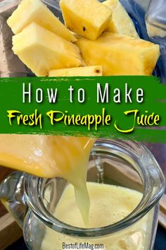 Learning how to make fresh pineapple juice is a great way to enjoy healthy juices at home without all of that sugar found in store-bought juice. Making Juice at Home | Pineapple Juice Ideas | Fresh Juice Recipes | Pineapple Recipes | Tips for Juicing | Smoothie Tips | Healthy Juices and Smoothies #fruit #juice via @amybarseghian Pineapple Recipes Healthy, Fresh Juice Recipes, Pineapple Drinks, Healthy Juice Recipes, Healthy Juices, Health Recipes, Healthy Drinks, Healthy Food, Pinapple Juice