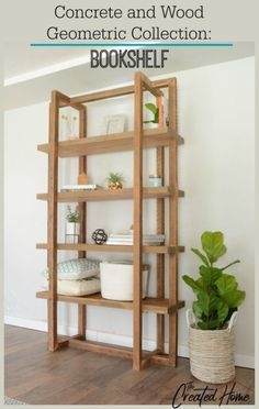 Concrete and Wood Geometric Collection: Bookshelf - The Created Home
