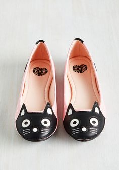 Up Your Alley Cat Flat in Pink Dots. If youd describe your style as slightly zany, decently adorable, and super-duper fun, then weve got mews for you. Cat Flats, Cat Shoes, Shoes Uk, Pink Ballet Shoes, Pink Flats, White Flats, Polka Dot Flats, Polka Dots, Vintage Style Shoes