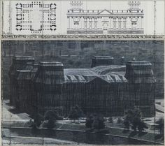 From Galerie Georg Nothelfer, Christo and Jeanne-Claude, Wrapped Reichstag (Project for Berlin), 2 pieces Mixed Media/Paper, 155 × 167 cm Berlin, Modern Art, Contemporary Art, Christo And Jeanne Claude, Shape Art, Great Artists, Art History, Daniel Levy, Artsy