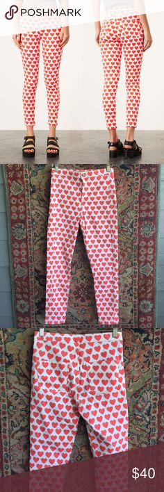 """Topshop Heart Jeans West and high waisted with hearts! In good used condition with no issues. Lots of stretch for a good fit. 14"""" waist, 10.75"""" rise and 27"""" inseam Topshop Pants Ankle & Cropped"""