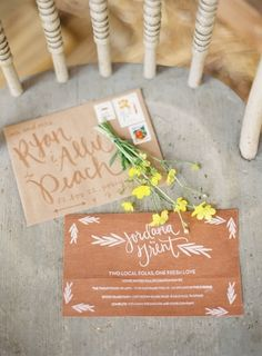 Rustic wedding invitation. I love the addressee large lettering on the front of the envelope.