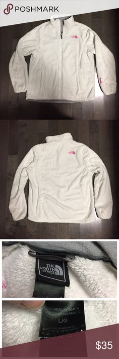 North face jacket North face jacket cream color with fuchsia  embroidered lettering, size large. Lower left sleeve there is a pink ribbon for breast cancer North Face Jackets & Coats