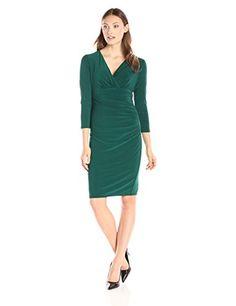 Kasper Women's Empire Waist Side Rouched Dress, Emerald, 10 Kasper