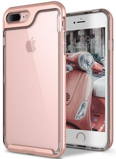 iPhone 7 Plus Case, Caseology [Skyfall Series] Transparent Clear Enhanced Grip [Rose Gold] [Slim Cushion] for Apple iPhone 7 Plus (2016). Minimalist Beauty: A transparent case with a color-matched bumper is the perfect platform for expressing your style. Sleek Plusfile: The slim build and comfortable texture make this case easy to hold. Reliable Protection: Acrylic and polycarbonate pair up for double the drop protection. Military Grade Certified: Meets latest military standard [MIL-STD...