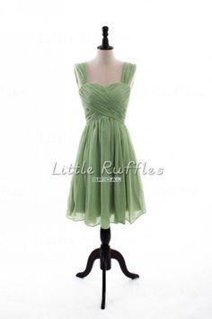 Green Bridesmaid Dress Short Bridal Party by LittleRufflesBridal, $86.99