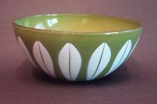 "vintage Catherineholm ENAMEL bowl green lotus MIDCENTURY Norway 4"""