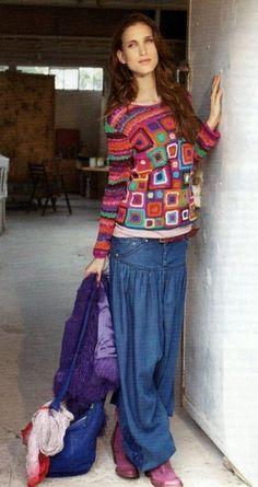 Sunrise crochet patch work pullover