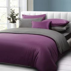 Purple And Dark Gray Solid Color Comforter Bedding Set Queen Size Cotton Duvet Cover Bed Sheet Home Textile Cs