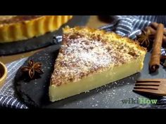How to Make a Milk Tart (with Pictures) - wikiHow Milk Tart, Fruit Compote, Pastry Shells, Pie Pan, Stove Oven, Vanilla Essence, Brown Sugar, Yummy Treats, Afrikaans