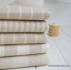 Stripe Cotton Linen Fabric Cream Beige Strip Medium by fabricmade, $7.20