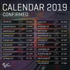 Calendario 2019 Repost ( ・・・ 2019 MotoGP Calendar confirmed ✅ // Who's ready for some racing? Motogp Game, Nicky Hayden, Vintage Mustang, Classy Cars, Racing Motorcycles, Sportbikes, F1 Racing, Race Day, Event Calendar