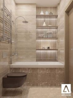 Tiny Bathroom Tub Shower Combo Remodeling Ideas 46 - Home Decor Design Bathtub Shower Combo, Bathroom Tub Shower, Basement Bathroom, Bathroom Shelves, Bathroom Closet, Glass Shelves, Brown Bathroom, Bath Tubs, Shower Niche