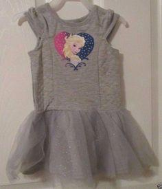 Girls Disney Tee Shirt Tutu Dress Size 18 Months, Frozen & Heart, NWT's