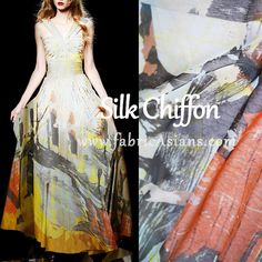 Abstract Print Silk Fabric. Yellow grey silk chiffon by fabricAsians. ♥ 10% OFF for Purchase over $80 ♥ Coupon code: TrulyHandmade ♥ ♥ Expiry: 31Mar2015