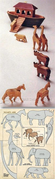 Wooden Noah's Ark Toy - Children's Wooden Toy Plans and Projects | WoodArchivist.com
