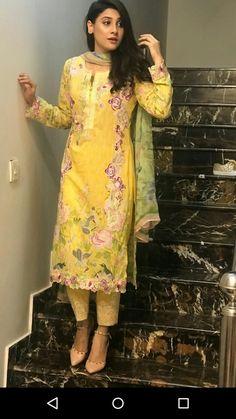 #yellow Salwar Kurta, Shalwar Kameez, Hina Altaf, Simple Dress Pattern, Saree Photoshoot, Indian Girls Images, Embroidery Suits, Pakistani Outfits, Indian Ethnic Wear