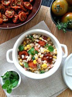 Orzo salad con pancetta, pomodori confit e origano fresco - di Papilla Monella #fuudly #ricette