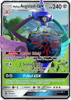 Hylian Aegislash GX Custom Pokemon Card Cool Pokemon Cards, Rare Pokemon Cards, Pokemon Trading Card, Pokemon Go, Pokemon Cards For Sale, Pokemon Eeveelutions, Charizard, Pokemon Cards Legendary, Pokemon Breeds