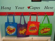 Superhero Classroom- cute to put where they hang their book bags.