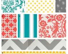 gray and coral quilts | Custom Crib bedding - Coral, Turquoise, Grey and Yellow Baby Bedding