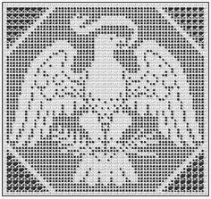 Printing Page For The Eagle Filet Chart That Can Also Be Worked in Cross Stitch