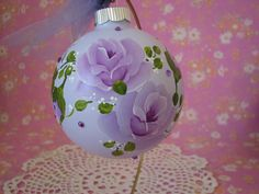 Christmas Ornament Large Hand Painted Glass by pinkrose1611