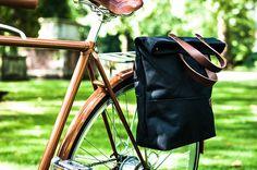 Bike Pannier / Canvas Tote Pannier Bag / Single by AlbanBikeBags