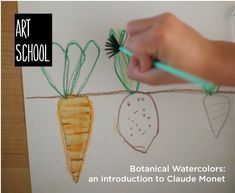 Kids Art Lesson: Claude Monet + Botanical Watercolor Paintings