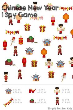 Check out this cute Chinese New Year I Spy Game printable! Great for practicing counting up to correspondence, visual discrimination, number recognition, and more! Your preschooler or kindergartner will love it.