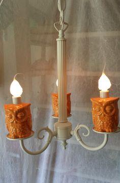 Owl Lighting Orange Owl Home Decor Chandelier  In Stock  Vintage Light on Etsy, $185.00