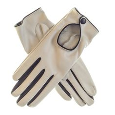 Ladies' Cream and Black Leather Driving Gloves to Buy Online