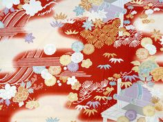 2943 - Japanese Cherry Blossom Chrysanthemum Floral Cotton Fabric - 43 Inch (Width) x 1/2 Yard (Length). $6.00, via Etsy.