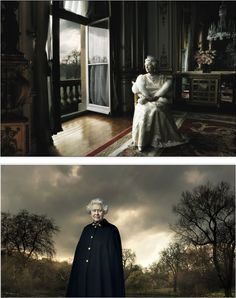 Famous celebrity photographer Annie Leibowitz took the official portraits of Queen Elizabeth II in March 2007. One of the photos, shows a serene Queen sitting in the White Drawing Room at Buckingham Palace dressed in a pale gold evening dress, fur stole, & diamond tiara. Inspired by the portrait of Queen Charlotte that hangs in the National Gallery, the wide shot captures the Queen gazing towards a large open window & reveals the room's furnishings. Soft light floods through the open window.