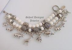 Schaef Designs White Coral & Sterling Silver 3 Strand Endangered Species African Animal Charm Bracelet