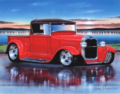 A 28 29 Ford Roadster Pickup art print from a handpainting by Parry Johnson. 11x14 inch print size. The artwork is freehand sketched, pen & ink, acrylic han
