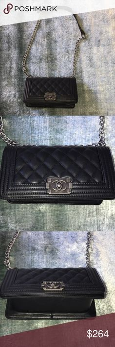 Vintage Black Quilted Leather Boy Handbag Perfect condition! Message me with any questions! Happy Shopping!  Chanel Inspired! Vintage Bags