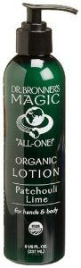 Dr. Bronner's & All-One Organic Lotion for Hands & Body, Patchouli Lime, 8-Ounce Pump Bottles (Pack of 2) by Dr. Bronner's Magic Soaps. $18.92. All Essential Oils Certified Organic. Moisturizes & Protects Without Being Greasy; Leaving Skin Feeling Baby Soft. Elegant & Effective Formulations Based On Organic Jojoba Oil. No Synthetic Ingredients Or Preservatives. Great For Dry Skin; Camping; Backpacking; Traveling; Ski & Snowboarding; All Outdoor & Indoor Sports. U...