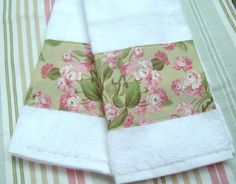 Items similar to Pink Rose and Aqua Custom Decorated Hand Towels - Cotton Fabric - White Hand Towels on Etsy Blue Hand Towels, Kitchen Hand Towels, Hand Towel Sets, Ralph Lauren Fabric, Ebay Shopping, Shabby, Vintage Embroidery, Designer Pillow, Floral Fabric