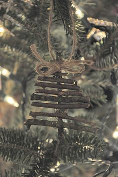 Twig ornaments.... this one is just hot-glued together, but I think it would look cute if it was wrapped together with twine too!