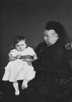 Queen Victoria and her last grandchild Prince Maurice of Battenberg. He died at the Battle of Ypres in 1914.