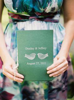 Wedding program: http://www.stylemepretty.com/2012/04/23/manitowish-waters-wedding-by-yazy-jo/ | Photography: Yazy Jo - http://www.yazyjo.com/