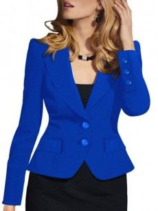 Chic Lapel With Flap Pockets Plain Blazers
