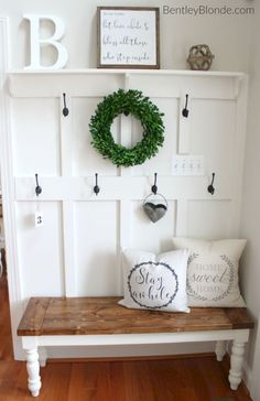 A room will look beautiful if the entrance has been beautifully decorated and one of the ideas is rustic farmhouse entryway decoration. Home decoration can be a fun activity because you will be thr… Rustic Farmhouse Entryway, Farmhouse Bench, Farmhouse Style, White Farmhouse, Farmhouse Interior, French Farmhouse, Farmhouse Ideas, Farmhouse Design, Country Bench