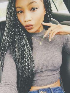 Silver/Grey Box Braids. Lips x Lime Crime IG: @bellaashanicee