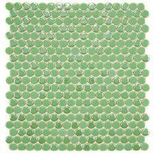 "Posh Penny 0.625"" x 0.625"" Porcelain Mosaic Tile in Capri"